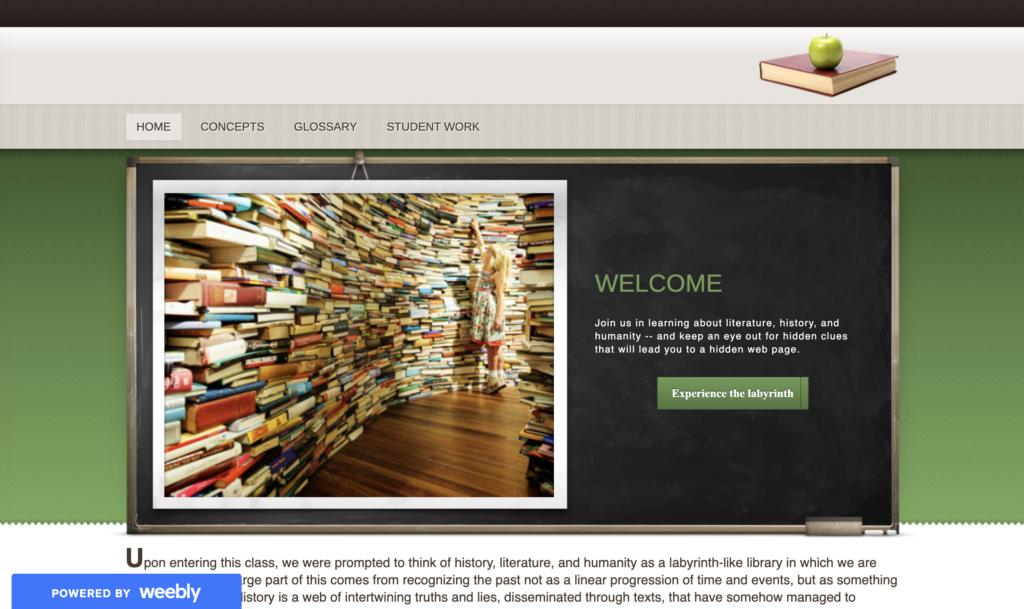 Screenshot of the Fall 2013 ENGL 400 website